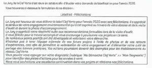 Label Clé Verte 2020 Félicitations jury